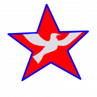 Ethical Socialism Logo: A red star with a white dove inside it. The star is surrounded by a blue outline