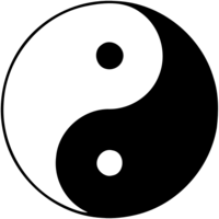 A taijitu, sometimes known as a yin yang symbol: A circle composed of two tear drop shapes that fit perfectly together. One is black with a white dot inside it and one is white with a black dot inside it