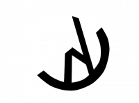 Anarcho-Pacifism Logo: Two slanted letter As reflect each other along one side, resembling a paper plane, inside a circle. The logo is half black and half white