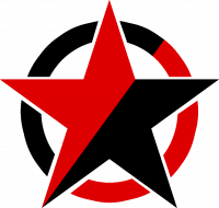 Anarcho-Communism Logo: A red and black star in front of a red and black circle