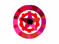 Council Communism Logo: A multicoloured star with a black pentagon in the centre is surrounded first by a red cog and then by a larger circle composed of multicoloured hands. The hands all point inwards towards the centre of the star. The colors are shades of pink, purple, and brown