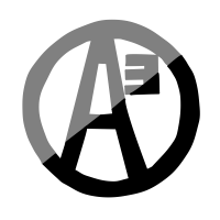 Agorism Logo: A letter A with a small 3 near the top right, enclosed in a circle. The logo is half black and half grey