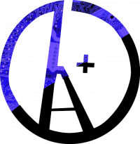 Anarcho-Transhumanism Logo: A circle A worked into the circle h+. The logo is half blue, half black.