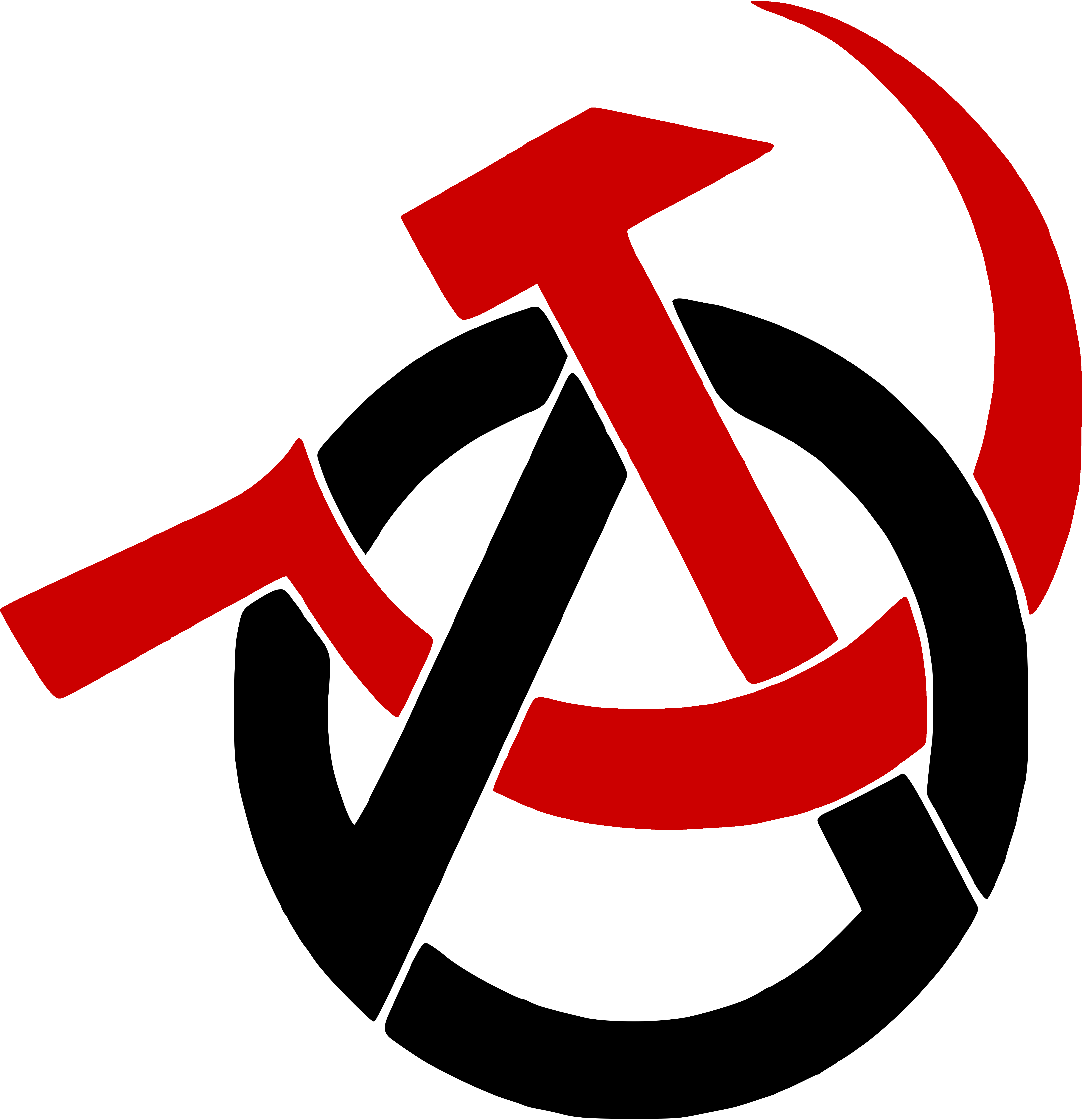 Anarcho-Communism Logo: A black A enclosed in a black circle with a red hammer and sickle replacing the middle and right side of the A