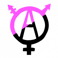 Queer Anarchism Logo: A letter A enclosed in a circle with three symbols radiating out from it: a plus sign, an arrow, and a combination of the two, resembling a trans symbol. The logo is half black and half lavender