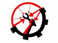 Anarcho-Syndicalism Logo: A fist holding a wrench enclosed in a circle. The logo is half black and half red. The black half of the circle has spokes like a cog and the red half has many arrows pointing inside the circle towards the wrench