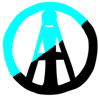 Individualist Anarchism Logo: A letter A with a lowercase i inside it, surrounded by a circle. The logo is half blue and half black