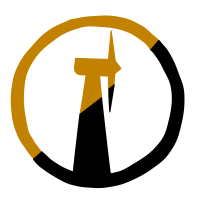Post-Scarcity Anarchism Logo: A windmill shape enclosed in a circle that is half yellow and half black