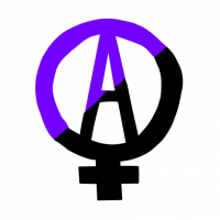 "Anarcha-Feminism Logo: A letter A enclosed in a circle with a plus sign below it, similar to the venus symbol for ""woman."" The logo is half black and half purple"