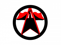 "Platformism Logo: An arrow shape resembling the outline of an A flanked by two ""wings"" that resemble an open book. In the upper portion of the A there is a black fist. The logo is contained in a circle and is black with red highlights on the arrow and wing shapes"