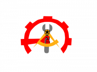 A grey wrench is overlaid with a yellow compass expanded to resemble an A. Where the compass and the head of the wrench meet there is a black star inside a circle. A red cog surrounds the top and sides of the logo, with a red fist extending from the left side to hold the wrench