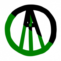 Anarcho-Primitivism Logo: A letter A enclosed in a circle that is half black and half green. A spear shape points up in the middle of the A.