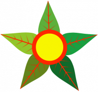 Eco-Socialism Logo: A yellow circle outlined in red with green leaves encircling it like flower petals