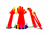Libertarian Municipalism Logo: Connected groups of multicoloured people surround red hands that reach up to grab yellow triangles