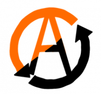 Mutualism Logo: A letter A surrounded by a circle composed of two arrows. The logo is half black and half orange.