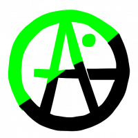 Green Anarchism Logo: A letter A with an elongated middle line and a green dot above it, all enclosed in a circle. The logo is half green and half black