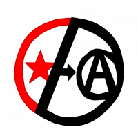 Post-Left Anarchy Logo: A circle divided unequally in two. The left side is a smaller portion in red with a star inside it. The right side is black with a smaller circle containing a letter A. The dividing line is black with a small arrow pointing towards the A on the right